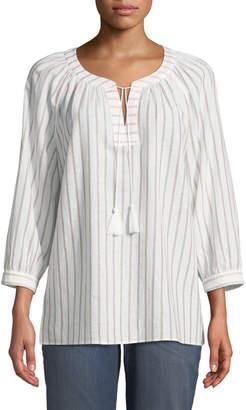 NYDJ Striped Tassel-Neck Blouse
