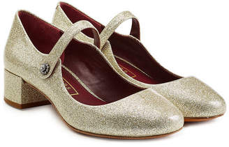 Marc Jacobs Glitter Coated Leather Mary Jane Pumps