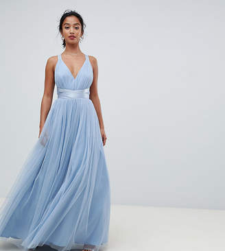 Asos PREMIUM Petite Tulle Maxi Prom Dress With Ribbon Ties