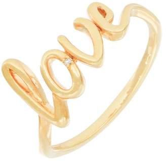 Carriere Yellow Gold Plated Sterling Silver Diamond Cursive Love Ring