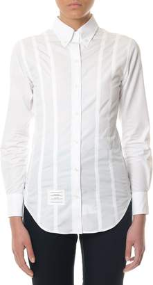 Thom Browne White Cotton Shirt With Vertical Stripes Details