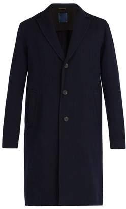 Altea Single Breasted Wool Overcoat - Mens - Navy