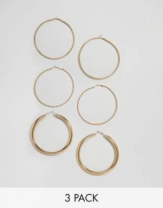 Bershka large detailed 3 pack hoop earrings