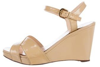 prada Prada Patent Leather Wedge Sandals