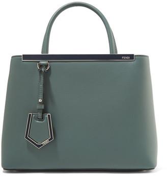 Fendi - 2jours Petite Leather Shopper - Gray green $2,350 thestylecure.com