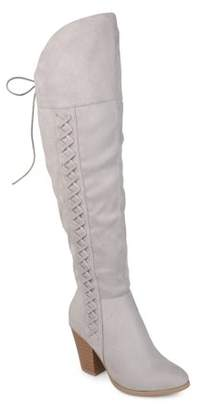 Brinley Co. Womens Faux Suede Faux Lace-up Over-the-knee Boots