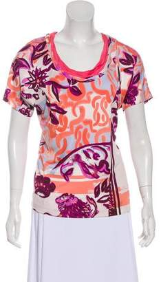 Emilio Pucci Silk Printed Short Sleeve Top