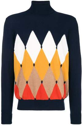 Ballantyne diamond patterned turtleneck sweater