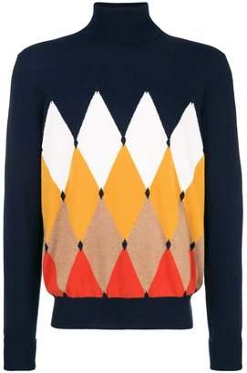 Ballantyne diamond patterned turtleneck sweater
