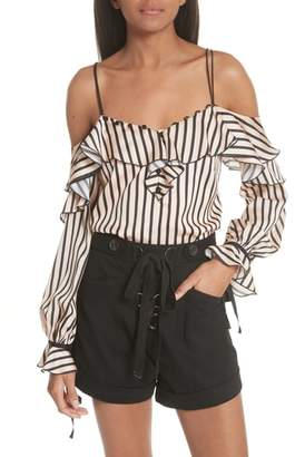 Self-Portrait Stripe Cold Shoulder Blouse