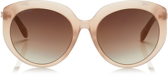 Jimmy Choo ETTY Brown Gold Oval Sunglasses with Nude Frame