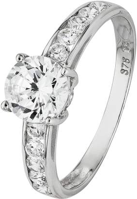 Revere 9ct White Gold CZ Solitaire Shoulder Accent Ring.
