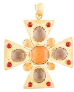 Elizabeth Locke 19K Mother of Pearl & Multistone Maltese Cross Pendant