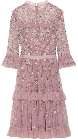 Needle & Thread - Twilight Tiered Embellished Tulle Dress - Lilac