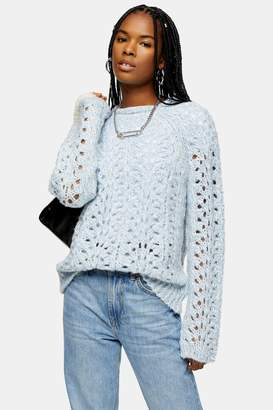 Topshop Blue Knitted Open Stitch Jumper