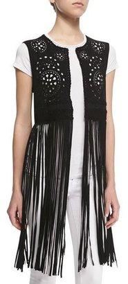 Cusp by Neiman Marcus Laser-Cut Long Fringe Vest $395 thestylecure.com