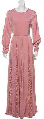 Mikael Aghal Lace-Trimmed Maxi Dress