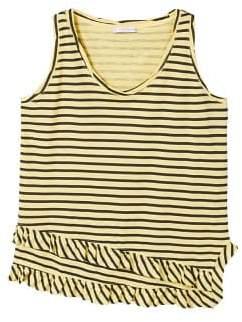 Violeta BY MANGO Ruffled striped t-shirt