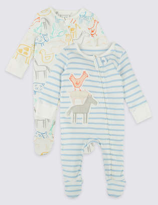 Marks and Spencer 2 Pack Pure Cotton Sleepsuits