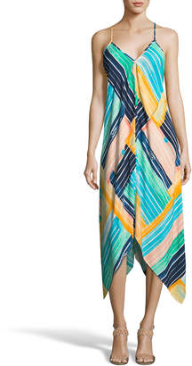 Label By 5twelve Striped V-Neck Handkerchief Dress
