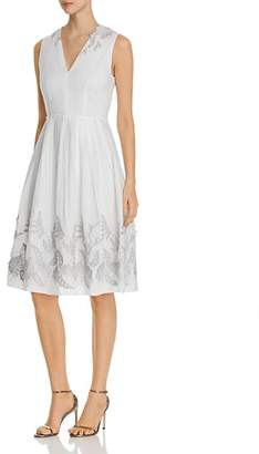 Elie Tahari Astrid Fit-and-Flare Appliqué Dress