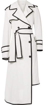 Thom Browne Asymmetric Grosgrain-trimmed Shell Trench Coat - White