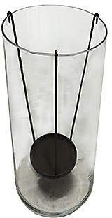 "12"" Large Glass Hurricane - Ebony Bronze - Mark D. Sikes"