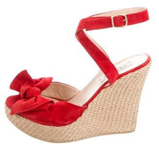 LK Bennett Suede Bow Wedges
