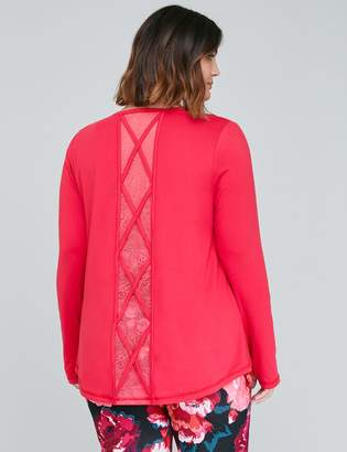 Lane Bryant Wicking Long-Sleeve Active Tee - Strappy Lace Inset