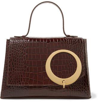 Trademark - Harriet Croc-effect Leather Tote - Chocolate