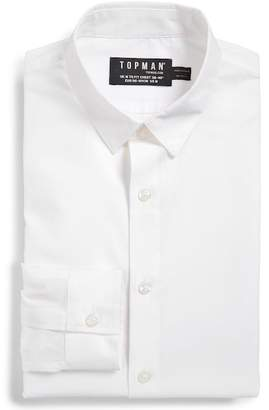 Topman Slim Fit Textured Cotton Dress Shirt