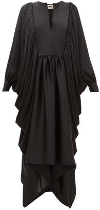 Maison Rabih Kayrouz Asymmetric Charmeuse Maxi Dress - Womens - Black
