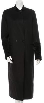 Calvin Klein Collection Oversize Shearling-Trimmed Cashmere Coat w/ Tags