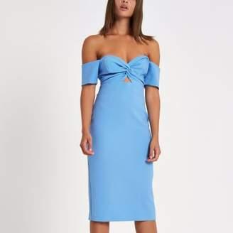 River Island Womens Bright blue bardot bodycon dress