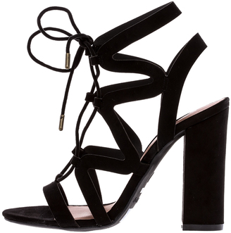 Bamboo Black Lace Up Heel $40 thestylecure.com