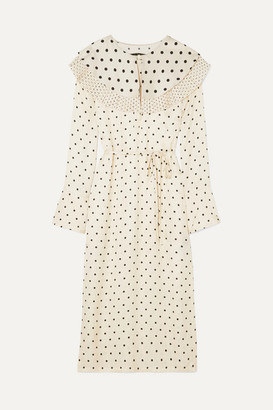 Mother of Pearl Lenox Pleated Polka-dot Satin Midi Dress - Ivory