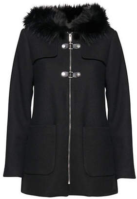 B.young B. YOUNG Wool-Blend and Faux Fur Trim Coat