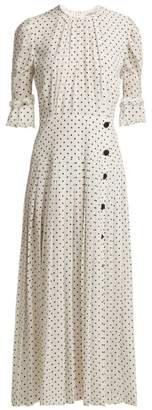 Alessandra Rich - Polka Dot Print Pleated Silk Dress - Womens - White Black