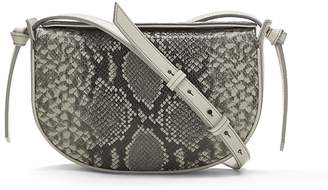 Banana Republic Snake-Effect Italian Leather Structured Half-Moon Crossbody