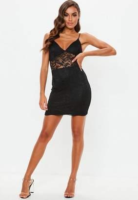 Missguided Black Strappy Lace Mini Dress