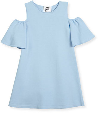 Milly Minis Cold-Shoulder Ponte Dress, Blue, Size 4-7 $165 thestylecure.com
