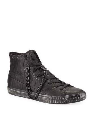 John Varvatos Men's Studded Mid-Top Leather Sneakers