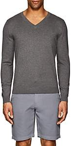 Piattelli MEN'S FINE-KNIT COTTON-BLEND V-NECK SWEATER-GRAY SIZE S