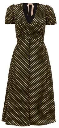 No.21 No. 21 - Polka Dot Puff Sleeve Tea Dress - Womens - Black Yellow
