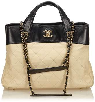 Chanel Vintage Quilted Calfskin In The Mix Satchel