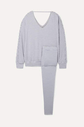 Eberjey Sadie Striped Stretch-modal Jersey Pajama Set - Blue
