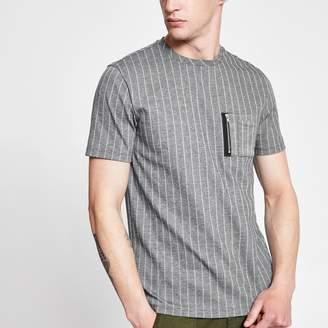 River Island Mens Grey pinstripe slim fit utility T-shirt