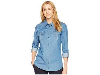 Pendleton Embroidered Cotton Chambray Shirt Women's Clothing
