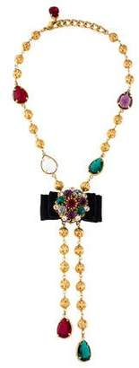 Dolce & Gabbana Multicolor Crystal Bow Necklace