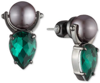 Carolee Hematite-Tone Crystal & Imitation Pearl Door Knocker Drop Earrings